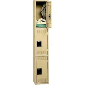 Tennsco Steel Locker TTK-121524-A-LGY - Triple Tier No Legs 1 Wide 12x15x24, Unassembled, Light Grey