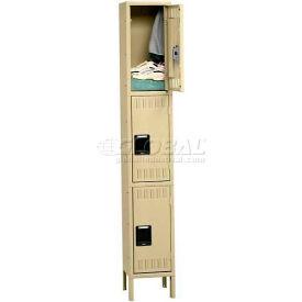 Tennsco Stee Locker TTS-121224-1 02 - Triple Tier w/Legs 1 Wide 12x12x24 Assembled, Medium Grey