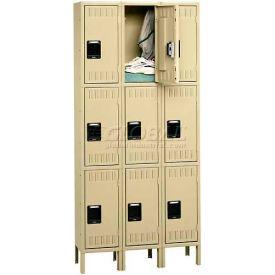 Tennsco Stee Locker TTS-121224-3 053 - Triple Tier w/Legs 3 Wide 12x12x24 Assembled, Light Grey