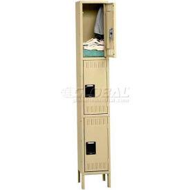 Tennsco Stee Locker TTS-121524-1 214 - Triple Tier w/Legs 1 Wide 12x15x24 Assembled, Sand