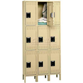 Tennsco Stee Locker TTS-121524-3 02 - Triple Tier w/Legs 3 Wide 12x15x24 Assembled,Medium Grey