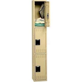 Tennsco Stee Locker TTS-121524-A 02 - Triple Tier No Legs 1 Wide 12x15x24 Assembled, Medium Grey