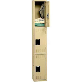 Tennsco Stee Locker TTS-121524-A 214 - Triple Tier No Legs 1 Wide 12x15x24 Assembled, Sand