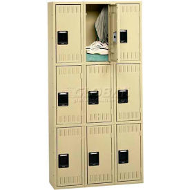 "Triple Tier Locker, No Legs, 3 Wide, 12""W X 15""D X 24""H, Assembled, Medium Grey"