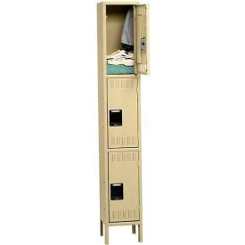 "Triple Tier Locker, With Legs, 1 Wide, 12""W X 18""D X 24""H, Assembled, Sand"