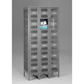 """Tennsco Ventilated Locker VBL6-1218-3-MGY -  Six Tier w/Legs 3 Wide 12""""x18""""x12"""" Welded, Med. Gray"""