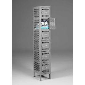 "Tennsco Ventilated Locker VBL6-1218-A-MGY - Six Tier No Legs 1 Wide 12""x18""x12"" Welded, Med. Gray"