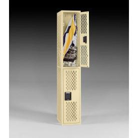 "Tennsco Ventilated Locker VDL-121836-C-SND - Double Tier No Legs 3 Wide 12""x18""x36"" Welded, Sand"