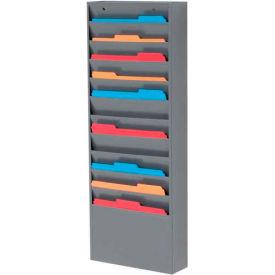 11 Pockets - Medical Chart Hanging Wall File Holder - Gray