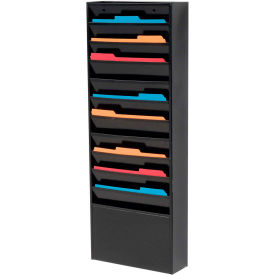 11 Pockets - Medical Chart Hanging Wall File Holder - Black