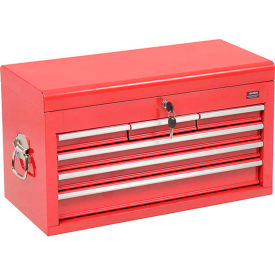 """Global™ Industrial 26""""W X 12""""D X 15""""H 6 Drawer Red Top Chest W/ Clamshell Lid"""