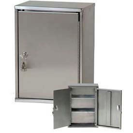 "Harloff Stainless Steel Heavy Duty Narcotics Cabinet Double Door & Lock 11""W x 8""D x 15""H"
