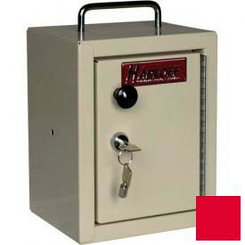 "Harloff Narcotics Box, Small, Single Door, Single Lock, 7""W x 7""D x 10""H - Red"