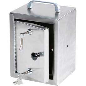 "Harloff Stainless Steel Narcotics Box, Single Door, Double Lock 7""W x 7""D x 10""H"