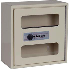 "Harloff See Thru Medicine Cabinet, Electronic Combo Lock, Single Door 12""W x 6""D x 12""H, Hamm. Green"