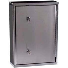 "Harloff Secure Stainless Narcotics Cabinet, Medium, One Door, Dual Lock,  11""x 4""x 15"""