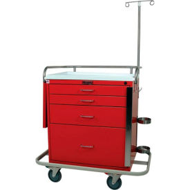 Harloff Classic Short Four Drawer Emergency Crash Cart Specialty Package, Navy - 6301