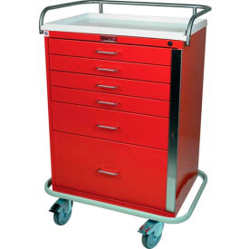 Harloff Classic Tall Six Drawer Emergency Cart Standard Package, Light Gray - 6400