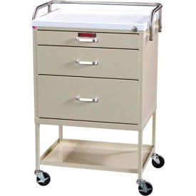 Harloff Instrument Cart with Three Drawers Open Shelving Storage Space, Hammertone Blue