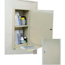 """Harloff In-Wall Medication Cabinet, Double Security Door Painted, 14-3/4""""W x 6-13/16""""D x 23""""H, Beige"""