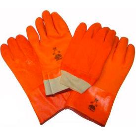 "Foam Lined PVC Gloves, 10 "", Fluorescent Orange, Large by"