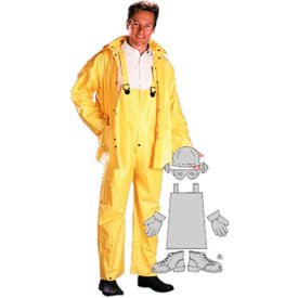PVC/Polyester Rainsuit, Yellow 3 Piece Suit, Large