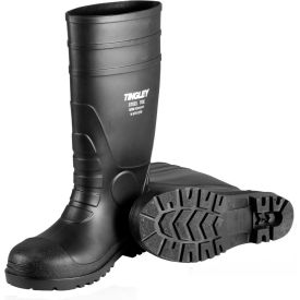 Tingley® 31151 Economy PVC Knee Boots ,Size 10, Black, Plain Toe, Cleated Outsole