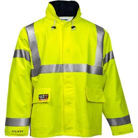 Tingley® Eclipse™ Hi-Visibility FR Hooded Coat, Zipper, Fluorescent Yellow/Green, XL
