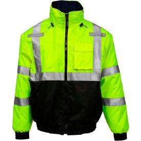 Tingley® Bomber 3.1™ Hi-Vis Hooded Jacket, Zipper, Fluorescent Yellow/Green/Black, XL