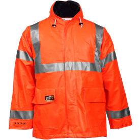 Tingley® Eclipse™ Hi-Visibility FR Hooded Jacket, Zipper, Fluorescent Orange/Red, M