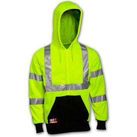 Tingley® Class 3 FR Hi-Vis Hooded Sweatshirt, Fluorescent Yellow Green/Black, S