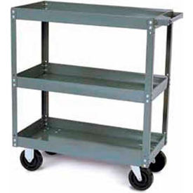 Tri-Boro Heavy Duty 3 Shelf Stock Cart SC2448-3 18 Gauge Steel 48 x 24 with 2-1/4 Lip, 1000 Lb. Cap.