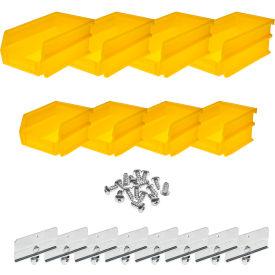 Triton 028-Y Poly Yellow Hanging Bin & BinClip Kits, (4) Small & (4) Medium