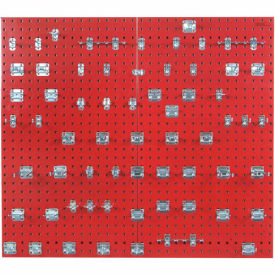 Triton LB2-BKit (2) 18 ga Red Steel Square Hole Pegboard W/ (63 pc) LocHook Set