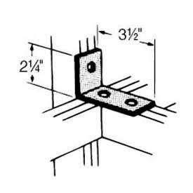 Superstrut 90° Steel Angle Fitting AB204EG, 3-Hole, W/Silvergalv™ Finish