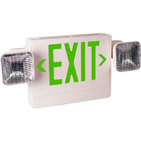 Emergi-Lite ELXN400G-2SQR Thermoplastic Combination Unit - White/Green 12W Remote Capacity