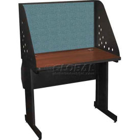 "Pronto Training Table with Carrel & Lockable Raceway, 36"" x 30"", Dark Neutral Finish/Slate Fabric"