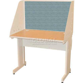 "Pronto Training Table with Carrel & Lockable Raceway, 42"" x 24"", Pumice Finish/Slate Fabric"