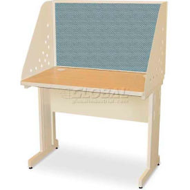 "Pronto Training Table with Carrel & Modesty Panel, 42"" x 30"", Pumice Finish/Slate Fabric"