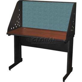 "Pronto Training Table with Carrel & Modesty Panel, 48"" x 24"", Dark Neutral Finish/Slate Fabric"