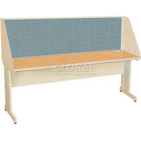 "Pronto Training Table with Carrel & Modesty Panel, 72"" x 30"", Pumice Finish/Slate Fabric"