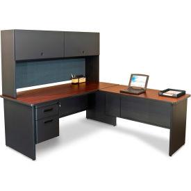 "Marvel® L Desk w/ Hutch - Single Pedestal - 72""W x 78""D - Dark Neutral/Slate - Pronto Series"