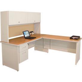 """Marvel® L Desk w/ Hutch - Single Pedestal - 72""""W x 78""""D - Putty/Beryl - Pronto Series"""