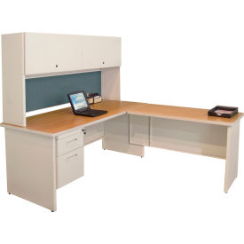 "Marvel® L Desk w/ Hutch - Single Pedestal - 72""W x 78""D - Putty/Slate - Pronto Series"