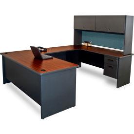 "Marvel® U Desk w/ Hutch - 72""W x 102""D - Dark Neutral/Slate - Pronto Series"