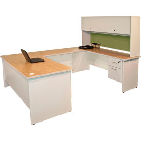 "Marvel® U Desk w/ Hutch - 72""W x 102""D - Putty/Peridot - Pronto Series"