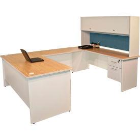 "Marvel® U Desk w/ Hutch - 72""W x 102""D - Putty/Slate - Pronto Series"