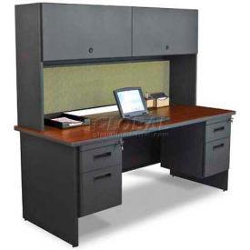 "Marvel® Steel Desk w/ Hutch -Double Pedestal-72""W x 30""D -Dark Neutral/Peridot - Pronto Series"