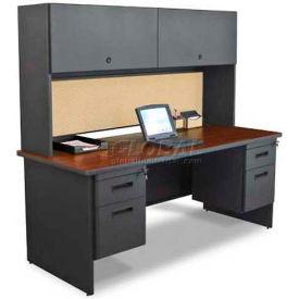 "Marvel® Steel Desk w/ Hutch - Double Pedestal-72""W x 30""D - Dark Neutral/Beryl - Pronto Series"