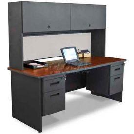 "Marvel® Steel Desk w/ Hutch - Double Pedestal-72""W x 30""D - Dark Neutral/Chalk - Pronto Series"
